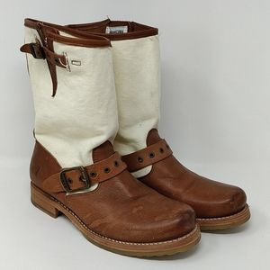 Frye Size 8B Brown Cream Canvas Boots 77643